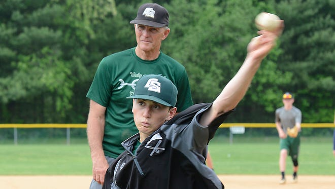 Christ School baseball coach Pat James and Camrin Opp