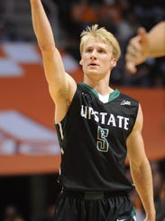 USC Upstate's Ty Greene calls for the crowd as they