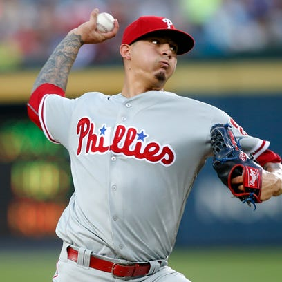 Philadelphia Phillies starting pitcher Vince Velasquez throws a pitch against the Atlanta Braves in the third inning at Turner Field. Velasquez allowed two runs in six innings.