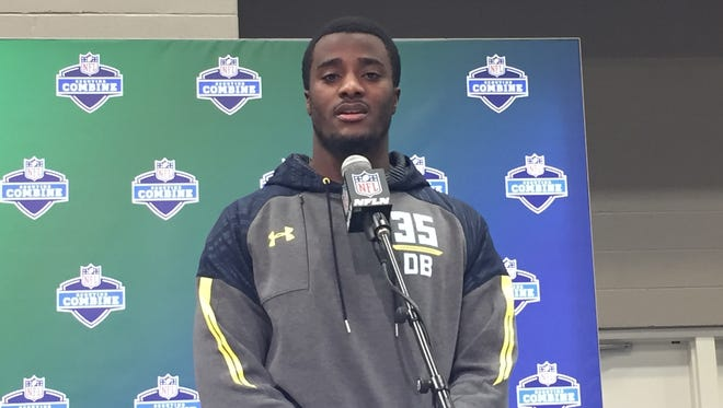 Former Michigan cornerback Jourdan Lewis at the NFL combine on March 5, 2017