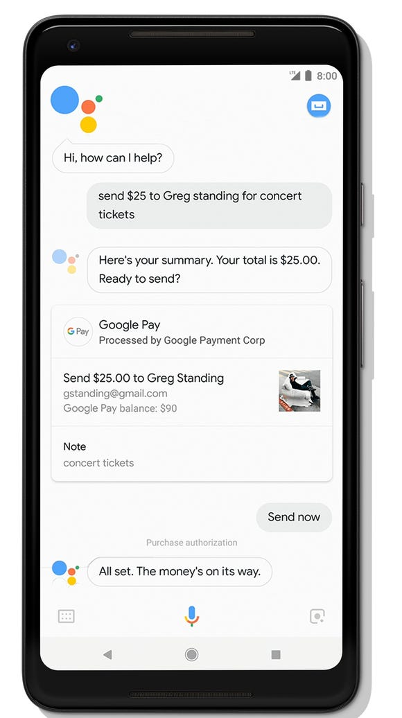 The Google Assistant can help you send or request money
