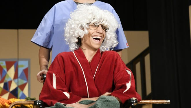 """Tulare Union student Jesse Cunha plays town bigwig Silas in """"Yard Sale."""""""
