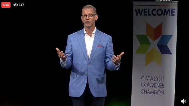 EV Construction CEO Mike Novakoski gives the keynote speech during the West Coast Chamber of Commerce's annual meeting. The meeting was held via Facebook Live this year due to the COVID-19 pandemic.