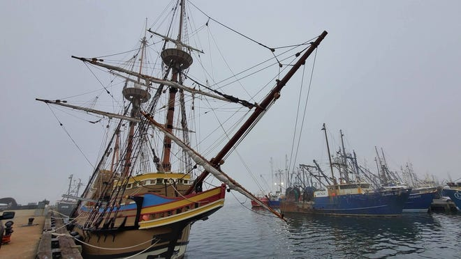 The Mayflower II has made an unexpected stop in New Bedford to ride out Tropical Storm Isaias.
