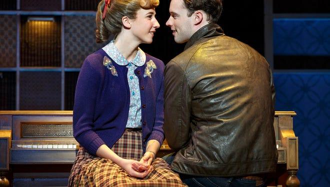 "Julia Knitel stars as Carole King alongside  Liam Tobin as Gerry Goffin in ""Beautiful: The Carole King Musical."""