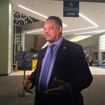 The Rev. Jesse Jackson speaks out against the violence happening in Ferguson, Missouri on Monday.