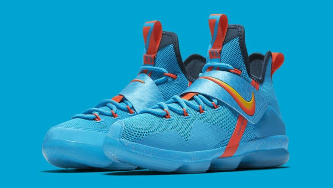 "The ""Cocoa Beach"" LeBron 14 releases exclusively in gradeschool sizing this Saturday,  for $140 at nike.com and Nike Basketball."