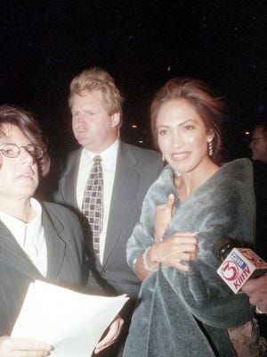 "Jennifer Lopez at the ""Selena"" movie premiere March 14, 1997 at Tinseltown in Corpus Christi, TX."
