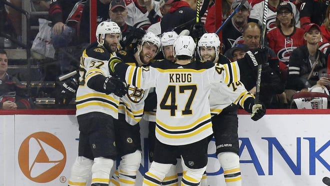 Bruins head coach Bruce Cassidy hopes to see a lot of scenes like this during the upcoming resumption of the season -- celebrations after a goal, featuring, from left, Patrice Bergeron, David Pastrnak, Brad Marchand, Torey Krug and Jake DeBrusk.