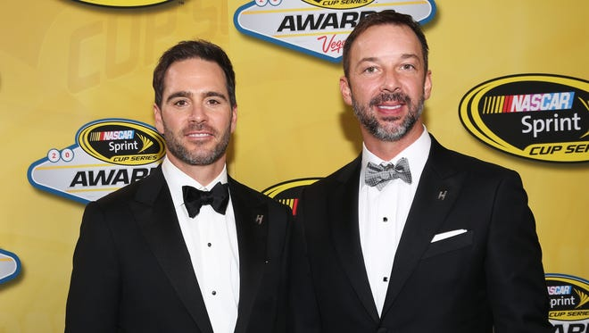 For the sixth time, Jimmie Johnson and crew chief Chad Knaus, right, celebrated a championship at the NASCAR Sprint Cup awards banquet.
