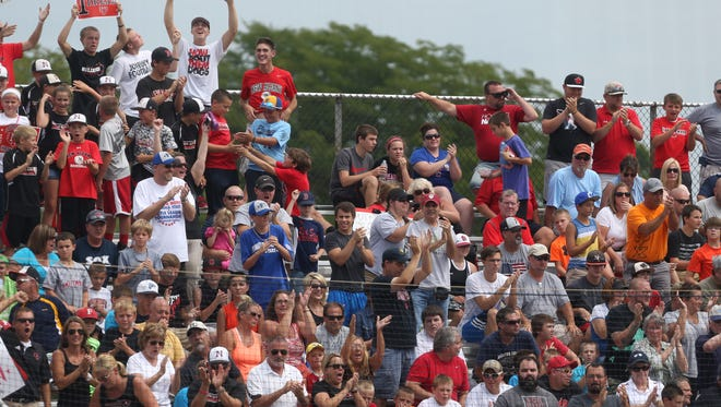 New Albany fans went wild as their team took a 5-0 lead over Jackie Robinson West Little League of Chicag in the Little League Baseball Central Regional Championship game at the Ruben F. Glick Little League Baseball Center in Lawrence, Ind. on Saturday, August 9, 2014. Despite the hefty lead, New Albany fell to JRW by a score of 12-7 after surrendering a two-out grand slam in the top of the fifth inning that put the Chicago team ahead to stay.