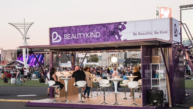 This photo provided by BeautyKind shows a BeautyKind pop-up in Las Vegas. Shoppers who go to the BeautyKind website can learn how to buy stock in the company.