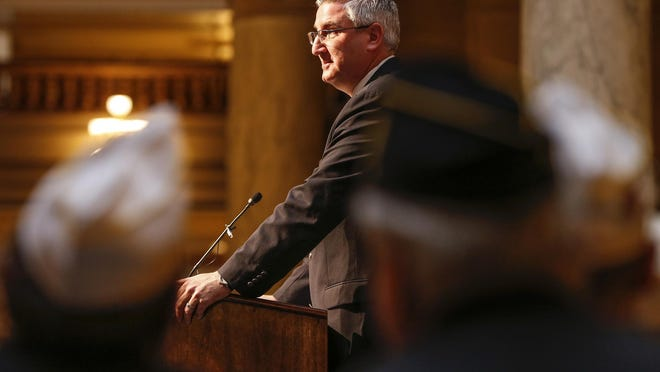 Indiana Gov. Eric Holcomb speaks during the 2017 Indiana Military Veterans Legislative Day at the Indiana Statehouse on Jan. 23, 2017.