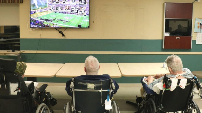The wide screen TVs in both the main dining hall and the downstairs dining room at Schervier Pavilion, are especially useful during spectacular sports events.
