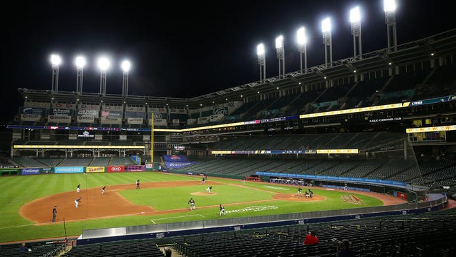 Progressive Field was empty for an exhibition game against the Pittsburgh Pirates, Monday, July 20, 2020, in Cleveland, Ohio.