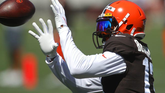 Browns wide receiver Odell Beckham Jr. catches a pass during practice last month in Berea.