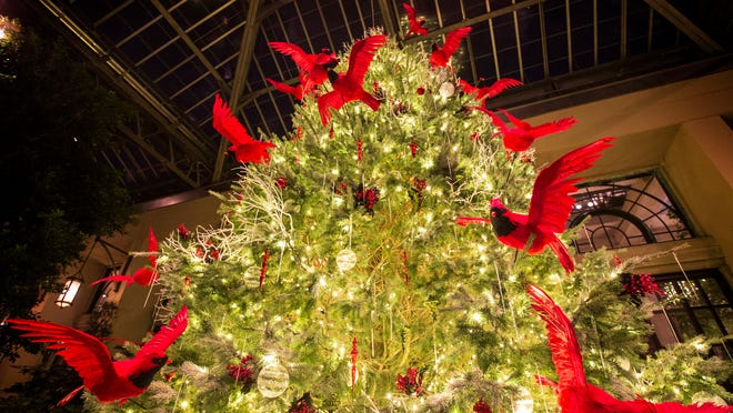 Christmas is on full display in the conservatory at Longwood Gardens near Kennett Square, Pa.