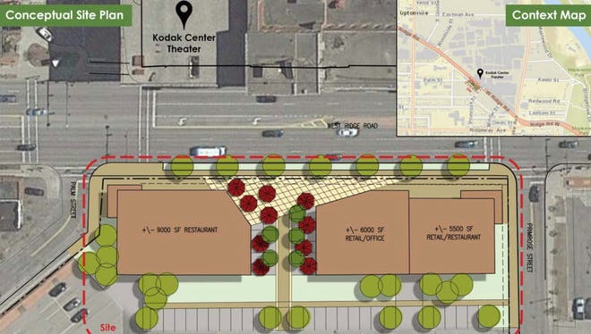 Eastman Business Park is seeking developers to build restaurant and retail on a 1.1-acre site opposite Kodak Center.