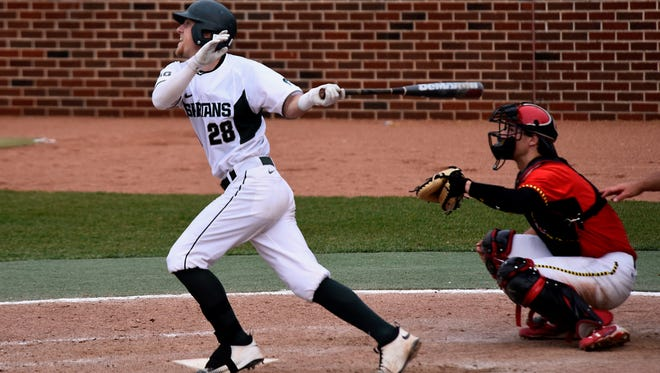 MSU junior catcher Matt Byars tallied the game-winning sacrifice fly during the Spartans' 13th-inning win over Maryland earlier this year at McLane Stadium in East Lansing.