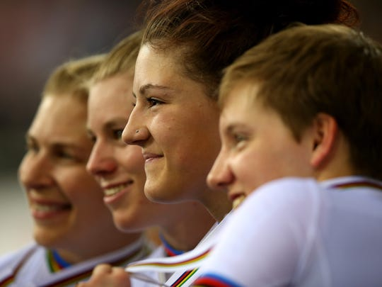 Chloe Dygert of America poses with her gold medal after winning the Women's Team Pursuit Final during Day Three of the UCI Track Cycling World Championships at Lee Valley Velopark Velodrome on March 4, 2016 in London, England.
