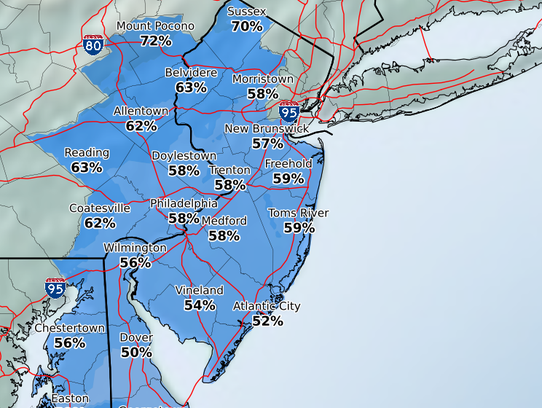 The chances of snow totals exceeding one-tenth of an