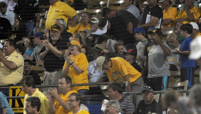 Southern Miss fans cheer during a game against Marshall in the Conference USA Baseball Tournament at Pete Taylor Park on Thursday.