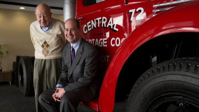"""Trucking magnate Manuel """"Matty"""" Moroun and son Matthew Moroun are photographed at their Central Transport headquarters in Warren, Tuesday, Feb. 13, 2018."""