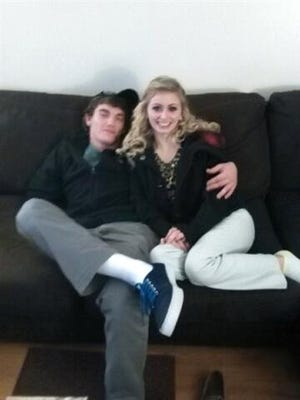 In this file photo provided by Tammy Martin, her son Dalton Hayes poses with his girlfriend Cheyenne Phillips at his family's home in Leitchfield, Ky. Kentucky authorities say two teenage sweethearts suspected in a crime spree of stolen vehicles and pilfered checks across the South have been apprehended in in Panama City Beach Florida Jan. 18.