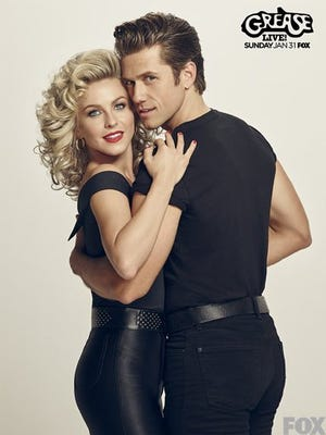 """Aaron Tveit (rght0 and Julianne Hough in a promotional image for """"Grease: Live"""" on Fox"""