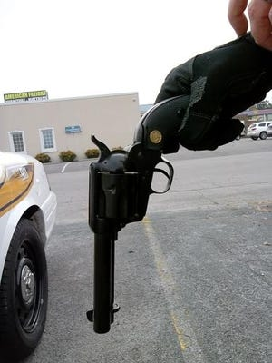 The revolver that went off, shooting its owner in the stomach inside a Clarksville restaurant.