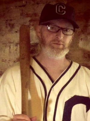 Filmmaker Cam Miller in a custom Blue Sox jersey.