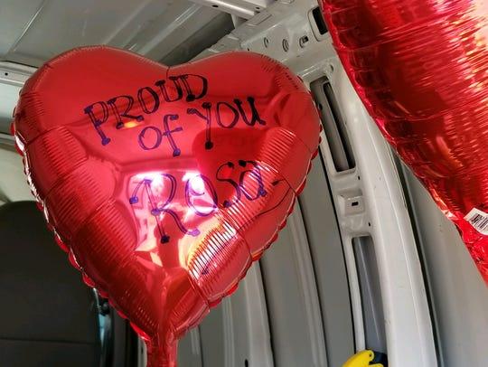 Balloons that were sent to Sayreville War Memorial
