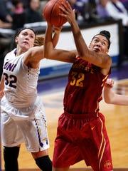 Northern Iowa's Heidi Hillyard, left, fouls Iowa State's