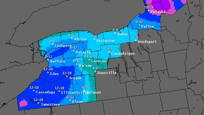 Storm total snowfall forecasts from 1 p.m. Wednesday to 7 a.m. Friday.