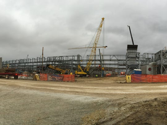 A panoramic photo of one side of Iowa Fertilizer's $1.8 billion plant under construction in Lee County on Friday, Sept. 12, 2014.