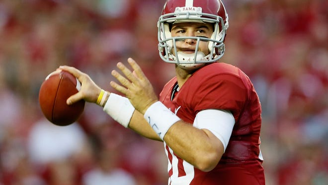 Quarterback AJ McCarron scans the field to make a pass against the Colorado State Rams on September 21, 2013 in Tuscaloosa, Alabama.