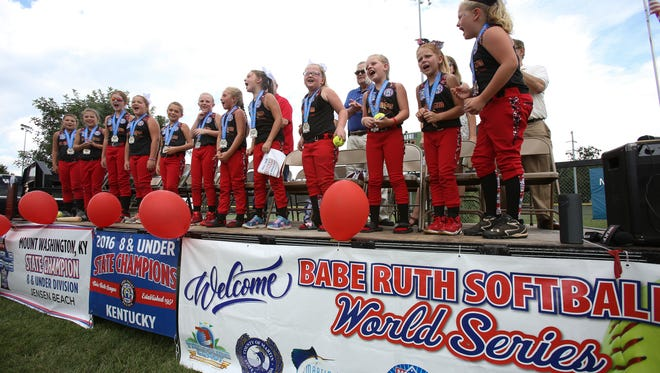 The Mount Washington All Stars 8 and under softball team sang a team chant during a pep rally to celebrate their state championship in the Babe Ruth Softball World Series.Aug. 14, 2016