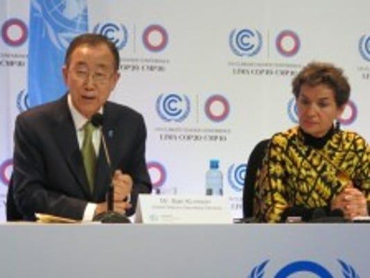 UN Secretary-General Ban Ki-moon and UNFCCC Executive Secretary Christiana Figueres speak at COP 20 in Lima, Peru