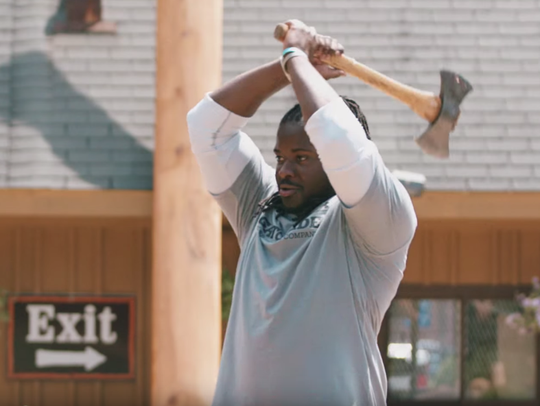 Packers running back Eddie Lacy mastered the ax throw,