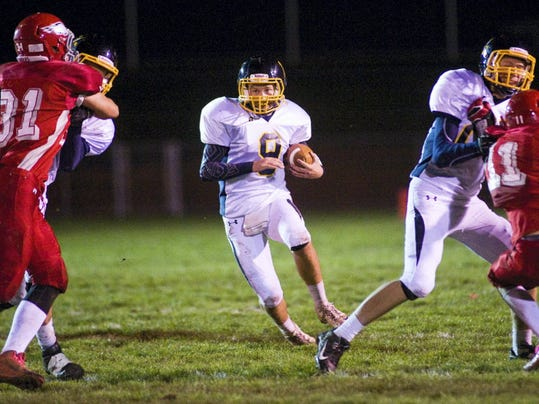 Quarterback Trevor Hildebrand helped Littlestown overtake Bermudian Springs, 12-10, on the road last week in a battle for the YAIAA Division III title, playoff positioning and the top spot in our league rankings. (GAMETIMEPA.COM -- FILE)