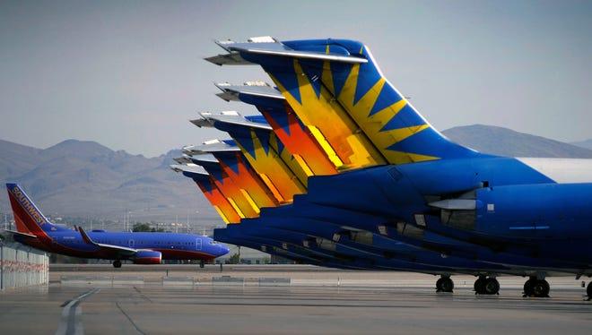 Allegiant Air jets at McCarran International Airport in Las Vegas on May 9, 2013.