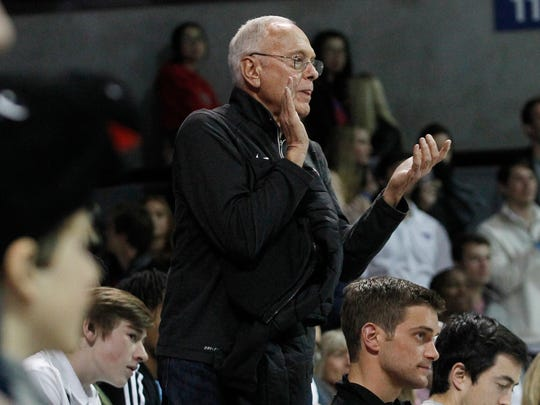 Former SMU coach Larry Brown cheers for the team during the second half against Tulsa on March 2, 2017, in Dallas. SMU won 90-73.