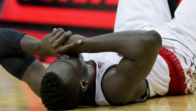 Louisville's Deng Adel after the loss to No. 1 ranked Virginia at the KFC Yum! Center in Louisville, Kentucky. March 1, 2018