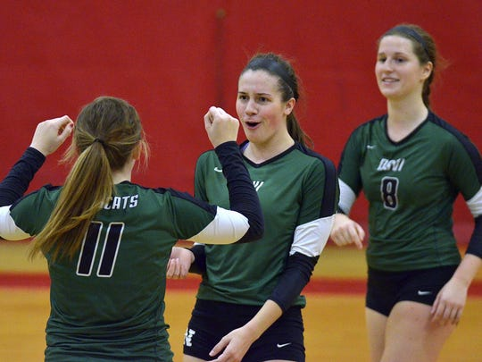 Celebrating their conference championship win Tuesday are (from left) Novi's Christina Hudgens, Emmy Robinson and Victoria Iacobelli. The Wildcats are No. 1 in Class A.