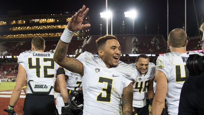 November 14, 2015; Stanford, CA, USA; Oregon Ducks quarterback Vernon Adams Jr. (3) celebrates after the game against the Stanford Cardinal at Stanford Stadium. The Ducks defeated the Cardinal 38-36. Mandatory Credit: Kyle Terada-USA TODAY Sports