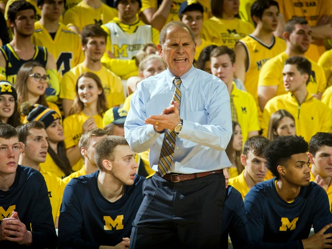 Michigan head coach John Beilein reacts from his bench