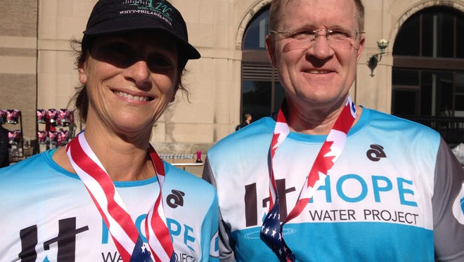 Cynthia VanVleet, 55, of Tempe, Ariz., and Tom Thompson, 52, of Beverly Hills had never met before the finish line of the 2014 Free Press marathon. But both were among about 1,500 runners who ran to raise money for the Hope Water Project, a nationwide church-sponsored effort to dig water wells for rural villages in Africa.