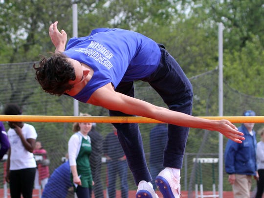 Eli Aaronson of Hendrick Hudson competes in the pentahlon high jump at the Joe Wynne Somers Lions Club Track and Field Invitational at Somers High School May 6, 2017.