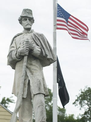 The Civil War statue that is currently outside of the American Legion Post in Beverly. It once stood in the Beverly National Cemetery and guarded its Civil War dead but was removed.