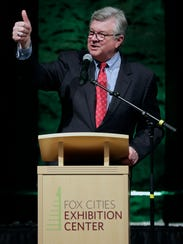 Appleton Mayor Tim Hanna gives a thumbs up during the grand opening of the Fox Cities Exhibition Center.